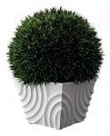 クリエイティブ フラワー アート グリーンボール & スクロールベース グラス (ホワイト)