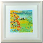 《水彩画・アートフレーム》湖畔の秋 260×260mm〔栗乃木ハルミ くりのきはるみ 〕