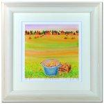 《水彩画・アートフレーム》りんごのキャンドル 340×340mm〔栗乃木ハルミ くりのきはるみ 〕