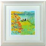 《水彩画・アートフレーム》湖畔の秋 340×340mm〔栗乃木ハルミ くりのきはるみ 〕