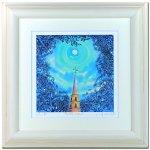《水彩画・アートフレーム》full moon 510×510mm〔栗乃木ハルミ くりのきはるみ 〕