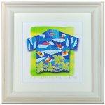 《水彩画・アートフレーム》Aloha/surfing 510×510mm〔栗乃木ハルミ くりのきはるみ 〕