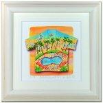 《水彩画・アートフレーム》Aloha/Waikiki 510×510mm〔栗乃木ハルミ くりのきはるみ 〕