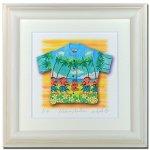 《水彩画・アートフレーム》Aloha/hula 340×340mm〔栗乃木ハルミ くりのきはるみ 〕