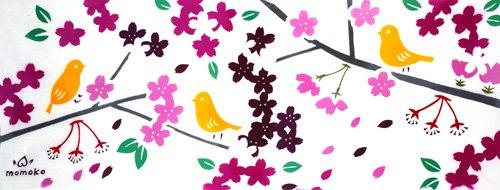 《絵てぬぐい》花と小鳥【メール便】