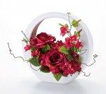 《造花・花瓶》クリエイティブフラワーアート ローズアレンジベース・Lサイズ (ワインレッド)