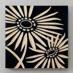 《木彫りアート》ウッドスカルプチャー アート ネーチャーガーベラ (ブラック)