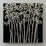 《木彫りアート》ウッドスカルプチャー アート フィールドフラワー (ブラック)