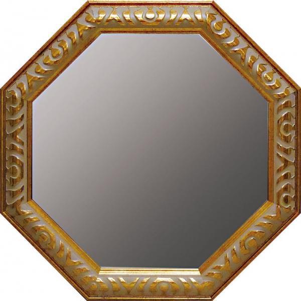 《ミラー》アンティーク 八角ミラー Lサイズ ゴールド