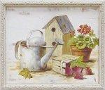 《手描きアクリル画》ウッド ボード アート バードハウスガーデン1
