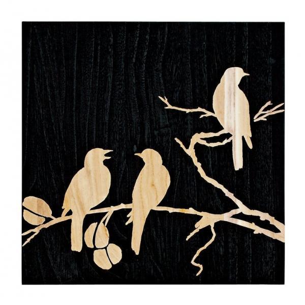《木彫りアート》ウッド スカルプチャー アート スリーバード (ブラック)