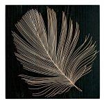 《木彫りアート》ウッド スカルプチャー アート フェザーB (ブラック)