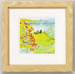 《水彩画》くりのきはるみ版画(ジグレー)湖畔の秋