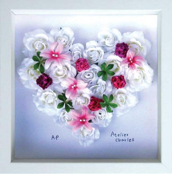 《フラワーフレーム》Heart Series White Heart(ハート シリーズ ホワイト ハート)