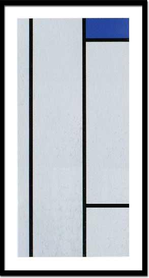 《絵画・抽象画》ピエト・モンドリアン コンポジション(ブラン/ブルー)(シルクスクリーン)