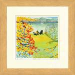 《水彩画》Harumi Kurinoki-S 湖畔の秋(栗乃木 ハルミ)