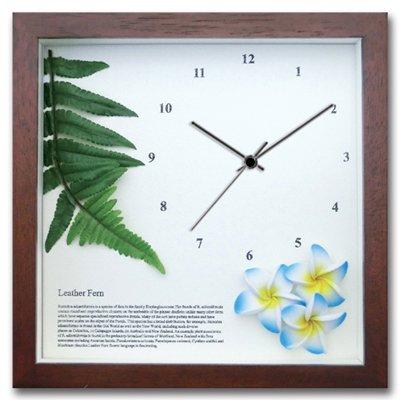 《時計》レザーファーン/プルメリア(BL)/BR