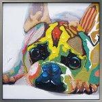 《手描き油絵》オイルペイントアート カラフル ブルドッグ