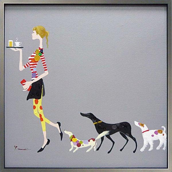 《手描き油絵》オイルペイントアート ドッグ アンド ウェイター