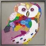 《手描き油絵》オイルペイントアート カラフルオウル 5Lサイズ
