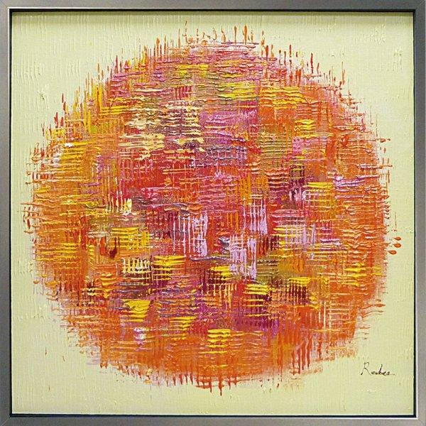 《手描き油絵》オイルペイントアート オレンジボール