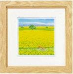 《絵画》くりのきはるみ 版画(ジグレー) 春の丘