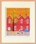 《版画》はりたつお レンガ工場と銀杏の木