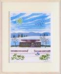 《版画》はりたつお 里山学校と冬鳥