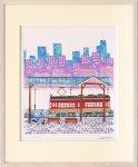 《版画》はりたつお 路面電車と雪の街