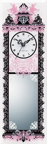 《時計&ミラー》デコール ガラス クロック&ミラー アンティーク・ショート (ピンク)