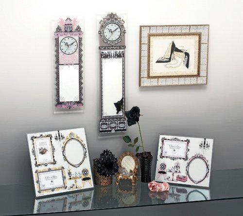 《時計&ミラー》デコール ガラス クロック&ミラー アンティーク・ロング (ピンク)