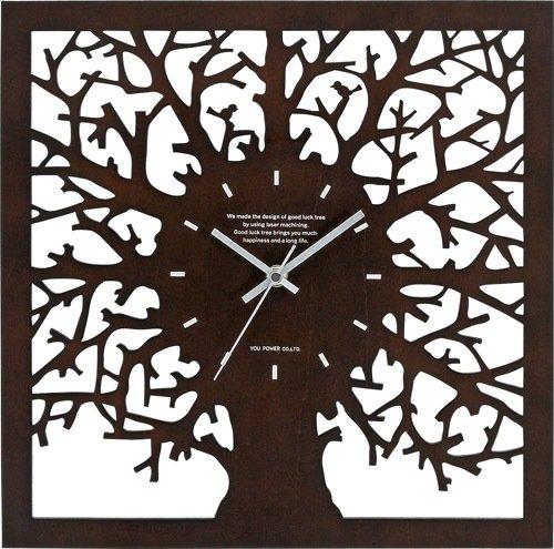 《時計》ツリーシルエット ウォールクロック クロック (ブラウン)