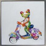 《手描き油絵》オイル ペイント アート フロッグバイク