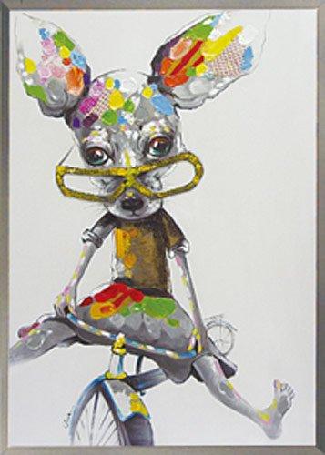 《手描き油絵》オイル ペイント アート ストレンジチワワ2