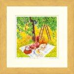 《水彩画・版画》Harumi Kurinoki-S りんご園にて(くりのきはるみ・栗乃木ハルミ)
