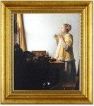 《本格復刻画・名画》真珠の首飾りの女(額付き)スタンダード版 フェルメール
