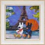 《アートフレーム》リサとガスパール アートフレーム Sサイズ 虹のエッフェル塔(ゆうパケット)