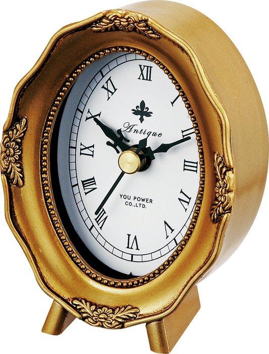 《時計》アンティーク スタイル クロック オーバル(ゴールド)