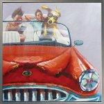 《手描き油絵》オイル ペイント アート ドッグ ドライブ