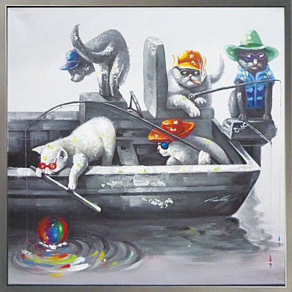 《手描き油絵》オイル ペイント アート キャッツフィッシング