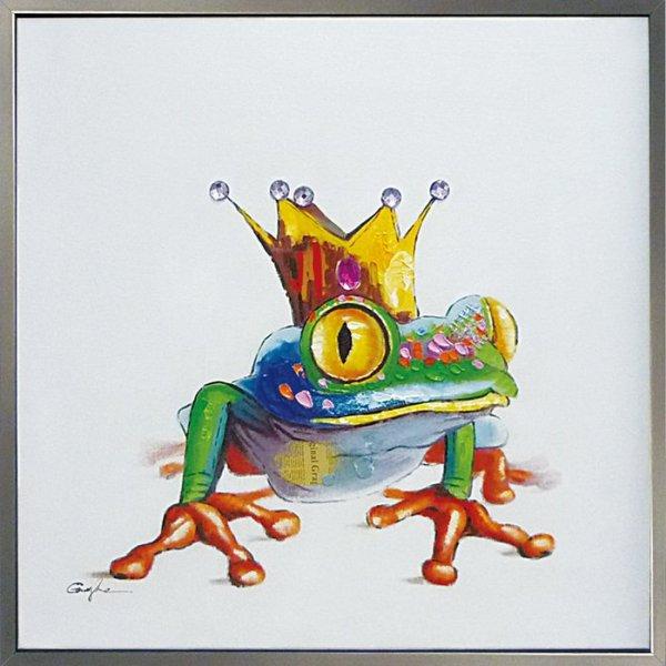 《手描き油絵》オイル ペイント アート キング フロッグ