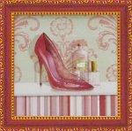 《ミニゲル アートフレーム》 キャロライン フィスク 「コーラル ピンク シュー2」(ゆうパケット)