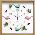 《時計》ディスプレイ クロック バード/グリーン&ピンク