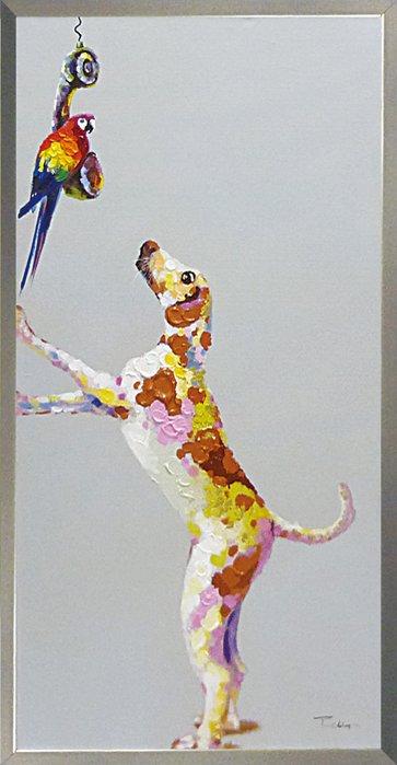 《手描き油絵》オイルペイント アート ドッグ&パロット