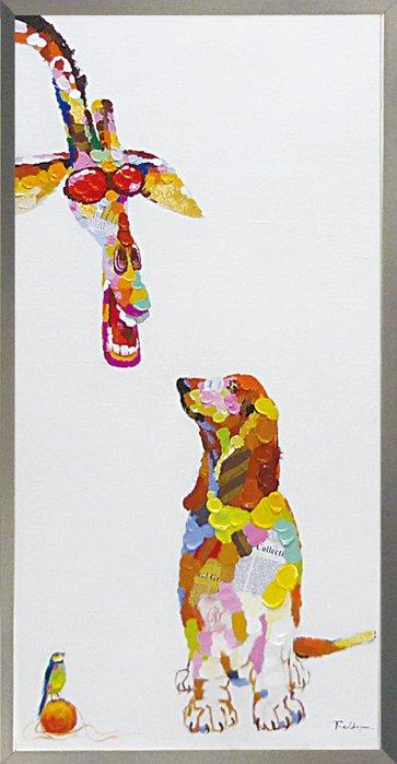 《手描き油絵》オイルペイント アート ドッグ&ジラフ