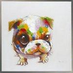《手描き油絵》オイルペイント アート キュート ドッグ