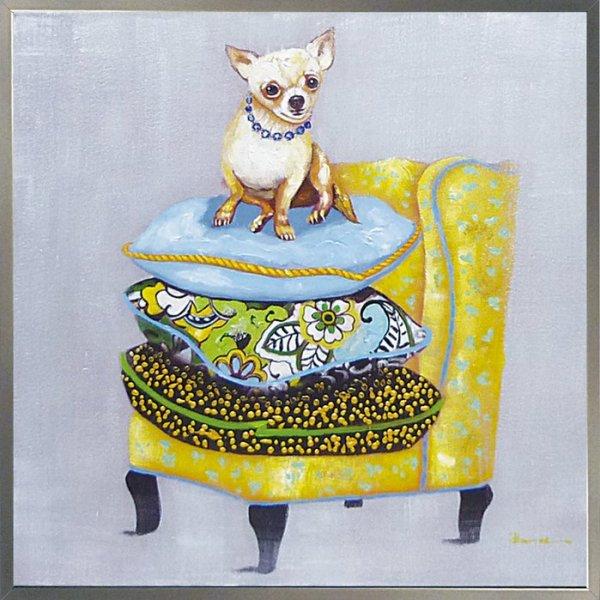 《手描き油絵》オイルペイント アート ドッグ&ソファ
