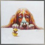 《手描き油絵》オイルペイント アート エッグ ドッグ