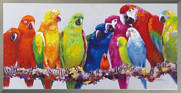 《手描き油絵》オイルペイント アート カラフル パロット