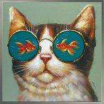 《手描き油絵》オイルペイント アート ゴールデン フィッシュ キャット